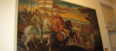 Ill quadro danneggiato esposto a Palazzo Isimbardi